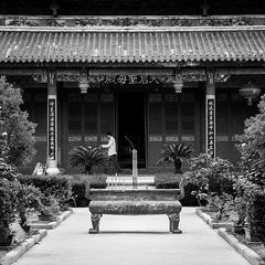 Praying time (Go-tea 郭天) Tags: canon eos 100d 50mm street urban city china yantai palace temple outside outdoor asian chinese bnw bw black white blackwhite blackandwhithe pray prayer praying people man alone door roof urn wood sticks smog incense burn tao taosism spirituality harmony silence silent quite relax letters character