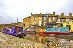 Barges in Skipton Harbour  North Yorkshire (rtstewart000) Tags: water river canal boats barges boattrips skipton northyorkshire ducks birds colours postcard scene nikon autofocus flickrclickx vivid vividandstriking leedstoliverpoolcanal narrowboats docks
