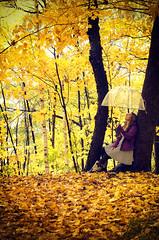 Ephemeral Style (flashfix) Tags: october212016 2016 2016inphotos nikond7000 nikon ottawa ontario canada 40mm woods autumn nature mothernature trees portrait selfportrait umbrella rainboots dress umbrellaseries bedofleaves