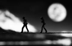 Full moon (cuppyuppycake) Tags: black white mystery full moon walking line mountain nikon d7200