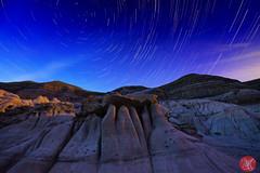 Hoodoos (Kasia Sokulska (KasiaBasic)) Tags: canada alberta drumheller hoodoos fujix landscape rockformations star trails