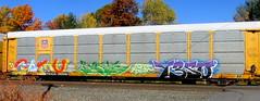 (timetomakethepasta) Tags: gamu eden yeso freight train graffiti art autorack union pacific up