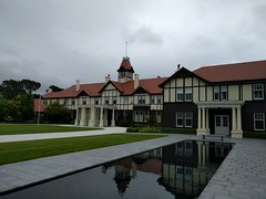 Government House in Wellington (Kevin Fenaughty) Tags: outdoor building governmenthouse grass pond paving turret tree work mountcook wellington newzealand
