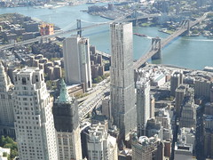 Aerial View, East River, Brooklyn Bridge, Manhattan Bridge,Lower Manhattan, One World Observatory, New York City (lensepix) Tags: aerialview eastriver brooklynbridge manhattanbridge lowermanhattan oneworldobservatory newyorkcity skyscraper
