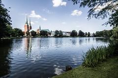 Lübeck - Dom and Mühlenteich (superbart77) Tags: architecture clouds domzulübeck lübeck mühlenteich park cathedral church dom historiccitycenter lake oldtown