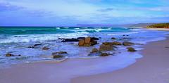 MOODY SURF BEACH (Lani Elliott) Tags: nature naturephotography beach sea ocean surf sand rocks view scene scenictasmania friendlybeaches eastcoast coastal
