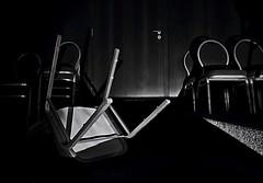 abandoned theater (Sebastian Schmeinck) Tags: black white bw schwarz weiss theater abandoned verlassen shuttle chair dark darkness shadow schatten dunkel light licht indoor canon eos minimal art
