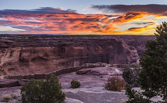 Fire in the sky (Fred Moore 1947) Tags: arizona canyondechellynationalmonument clouds sunrise canyon landscape rocks sky chinle unitedstates us