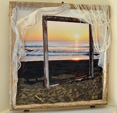 Nel Sempre (Daniela Bellofiore Artista) Tags: quadri arte finestra interni tramonto riciclo mare sabbia spiaggia tenda pittura