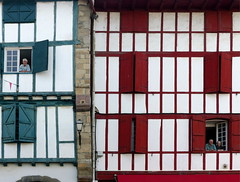 (MAGGY L) Tags: dmcfz200 paysbasque faades rouge colombages volets shutters
