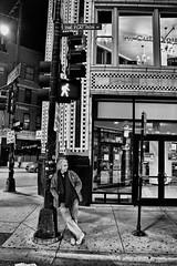 Lamppost #2 (draketoulouse) Tags: chicago wickerpark street streetphotography people blackandwhite monochrome city urban corner outside outdoor night nikon