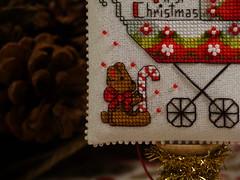 Baby's First Christmas (3) (GATACA1952) Tags: crossstitch embroidery christmas ornament pillow evenweave opalescent dmc kreinik millhill beads baby pram stroller teddybear candycane nol victorian