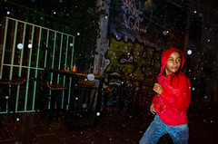 Athens, 2016 (thatguyfromhere) Tags: rain red run girl flash athens greece storm hail moment expression