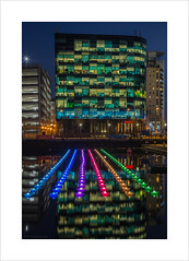 Voyage IV (andyrousephotography) Tags: lightwaves 2016 art voyage 198 origami boats rows order normality symmetry dock9 float installation lights neon rainbow colours salfordquays lowry theatre digitalworldcentre mediacityuk andyrouse canon eos 5d mkiii