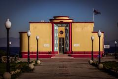 Rhodes Aquarium  - Το Ενυδρείο της Ρόδου (rodiann) Tags: rhodes rhodos rodi greece grecia sky blue yellow red green architecture building street flag lamps outdoor sea colours