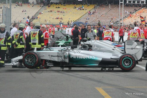 Rosberg's car is moved after the 2014 German Grand Prix