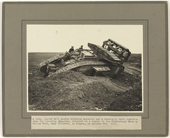 A tank loaded with wooden bridging material ... stranded in a trench in the Hindenburg Line, Belley Wood, near Villeret (Tasmanian Archive and Heritage Office Commons) Tags: war tank westernfront ww1 1917 villeret hindenburgline crowther 19141918 armoredwarfare armouredwarfare belleywood