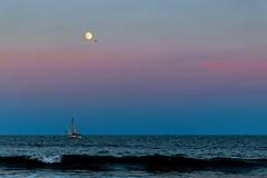 Moonrise - Atlantic City, NJ (somanbobba) Tags: moon beach nature canon boat waves dusk nj fullmoon moonrise atlanticcity bluehour 70d canon70d