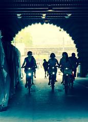 Velodramatic (DobingDesign) Tags: bridge friends paris france bicycle silhouette dark lights cyclists ride bikes riding cycle archway velo inthedark