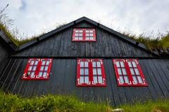 The Faroese Houses in Kirkjubøur (lucien_photography) Tags: blue red sea house nature water canon landscape island islands coast faroeislands faroe faroeisland markiii føroyar færøerne kirkjubøur îlesféroé froyar canon5dmarkiii 5dmarkiii