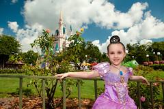 Amelia as Rapunzel (tltichy) Tags: world flowers portrait tiara castle rose garden costume dress magic july kingdom disney boutique after makeover amelia cinderella pascal walt rapunzel 2014