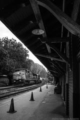 Speeding By (Brandon R. Smith) Tags: railroad blackandwhite bw train traintracks westvirginia trainstation harpersferry csx freighttrain harpersferrywv harpersferrywestvirginia harpersferrynationalhistoricpark csxcumberlandsubdivision