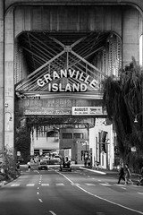 Granville Island (niklashofe) Tags: street camera bridge summer blackandwhite canada tree cars lines sign vancouver canon lens island eos bc traffic granville columbia british welcome blacknwhite bnw 2014 60d canoneos60d