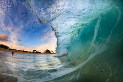 Sandy's Sunset wm (MICHAEL A SANTOS) Tags: ocean sunset hawaii waves oahu reef eastside sandys whitewash fisheyelens gaschambers michaelasantos canon7d liquideyewaterhousing rokinon8mmfisheye rokinon8 saintsphotography toesphotos