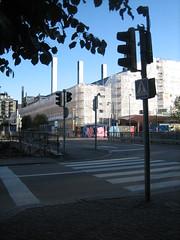 white works (Ladybadtiming) Tags: blue urban building tree finland big helsinki branch sunny september clear works huge crossroads vast