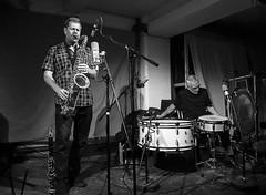 Ken Vandermark with Eddie Prvost and John Tilbury at Cafe OTO (Dawid Laskowski) Tags: john cafe concert ken jazz improvisation eddie dalston tilbury oto prvost vandermark cafeoto