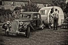 Caravanning 1940s Style. (bainebiker) Tags: monochrome vintage classiccar transport oldtimer caravan worldcars canon50mmf10 citroenavant baston1940sday 1955citroen