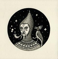 """Man with Pet Bird"" (Crispy Copper) Tags: art ink portland drawings pdx fecalface"
