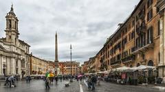 Umbrellas in Piazza Narvona (BAN - photography) Tags: restaurants statues tourists cobblestones obelisk piazza fountains umbrellas d800e