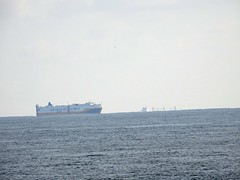 A Grimaldi Line ship off the Lizard with an Oil/ Chemical tanker just below the horizon (mukaloon) Tags: container ship falmouth lizard cornwall
