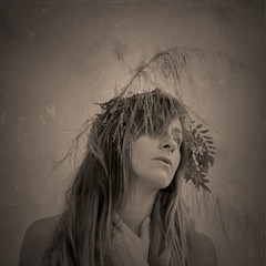 """There is no """"ready."""" There is only willing. (soultraveler106) Tags: girl vin sep tintype wreath crown sticks twigs flowers outside nature woman fineart fineartphotography"""