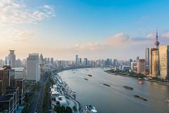 Sunset in Shanghai (steve.castles) Tags: sunset shanghai china bund pudong river boat blue city urban