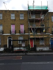 Pink (My photos live here) Tags: caledonian road london kings cross camden capital city england house building pink curtains scaffold scaffolding