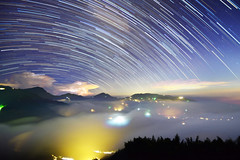 Star trails at Mountain Dalun  (Vincent_Ting) Tags:   teafield  sunset  seaofclouds  fog misty tea    taiwan   clouds tree sky   vincentting   startrails