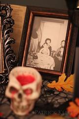 Halloween Altar 11 (BigSéance) Tags: halloweenaltar halloween vintagehalloween vintage vintagephotos skull halloweendecorating halloweendecorations spiritphotography ghost leaves