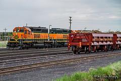 BNSF 1683 | EMD GP9u | BNSF Shelby Yard (M.J. Scanlon) Tags: rail railroad track train engine locomotive caboose bnsf montana shelby scanlon cloudy gloomy rain outdoors transportation 1683