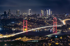 I Love Istanbul (acipinarli) Tags: city sea travel blue night clouds istanbul turkey architecture cityscape lights bridge building skyline bosphorus longexposure bluehour