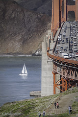 Golden Gate: A Different View (Greatest Paka Photography) Tags: bridge goldengate sanfrancisco sanfranciscobay cliff marinheadlands highway101 presidio fortwinfieldscott pacific ocean sea boat traffic
