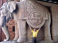 ManWoman Juggling the Swastika ((krungadoren)) Tags: manwoman carlsberg elephant swastika architechture copenhagen 2010