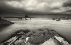 When the night comes.... (Elidor.) Tags: bw d90 castle holyisland lindisfarne northumberland elidor island evening boat jetty cloud