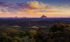 Glasshouse Mountains (Allen Images) Tags: mountains queensland australia sunset clouds mountbeerburrum mountngungun mounttibrogargan