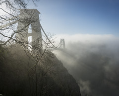 And then the Fog Rolled in... (CarolynEaton) Tags: bristol fog cliftonsuspensionbridge