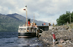 'Countess Fiona' stern - at Inversnaid. Sep'84. (David Christie 14) Tags: countessfiona lochlomond inversnaid