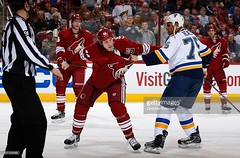 #44 B.J. CROMBEEN in action (kirusgamewornjerseys) Tags: bj crombeen arizona coyotes nhl ice hockey game worn jersey