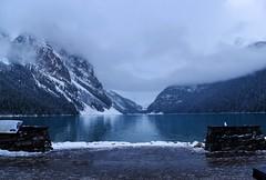 Lake Louise (Jane Olsen ( Chardonnay)) Tags: lakelouise mountains clouds mist snow water lake outdoor alberta