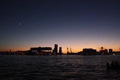 under the moon (eLeM-O) Tags: rotterdam skyline sunset 2016 december lookingsouth bridges nighttime willemsbrug erasmusbrug hef wilhelminapier noordereiland
